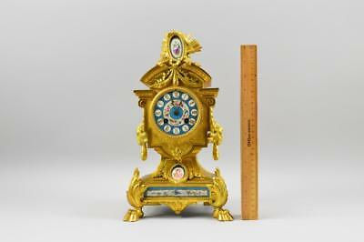 Antique P.H. Mourey French Gilt Clock W/ Sevres Style Plaques Working NR