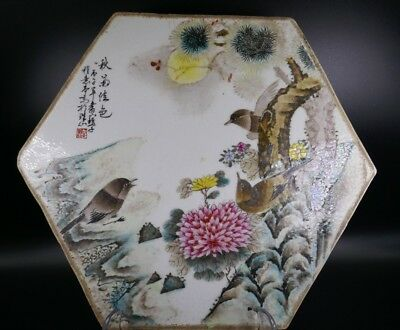 Fine Old Chinese 19th/20th Republic Period Porcelain Plaque Famille Rose