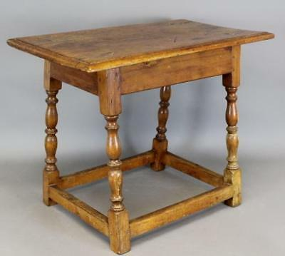 Rare William & Mary Early 18Th C Ma Turned Joint Stool Original Top Great Form