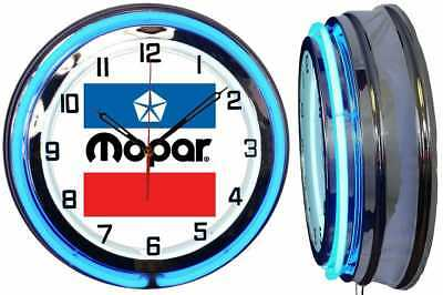 "MOPAR Vintage Logo 18"" Blue Neon Clock Chrome Finish"