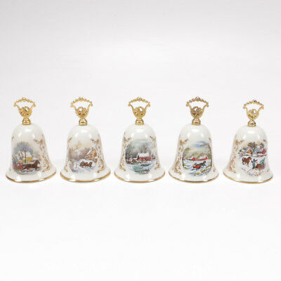 Lot of 5 Gorham Fine China Christmas Bells Annual Year 1976,1977,1978,1979,1984
