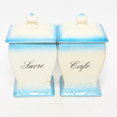 Antique French Large Porcelain Sugar and Coffee Canisters
