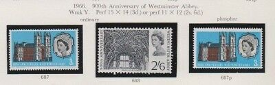 1966  900Th Anniv. Of Westminster Abbey - Ord. And Phos.(Mounted Mint)