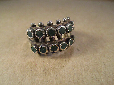 Vtg Sterling Silver & 2-Row Turquoise Ring, Unsigned Harvey Era, Size 9, 5.2g