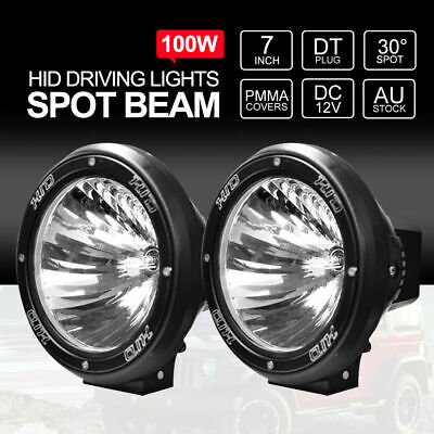 Pair 7inch 100W HID Driving Lights XENON Spotlights Offroad 4x4 12V Spiral Black