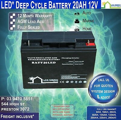 12V 20AH AGM Deep Cycle Battery, Security, RV's, Buses-FREE FREIGHT