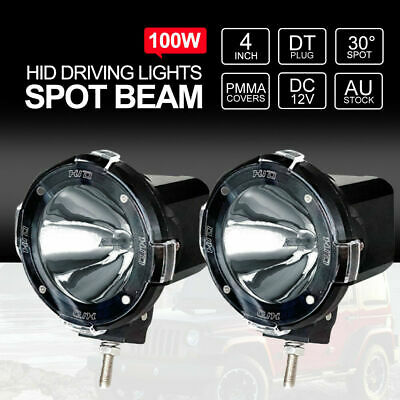 Pair 4 inch 100W 12V HID Driving Lights Xenon Spotlights Off Road 4x4 Fog Black