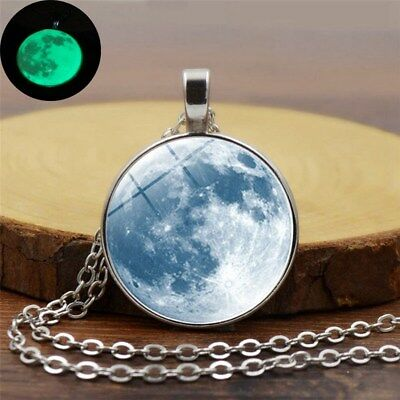 Round Moon Glow In The Dark Pendant Necklace Luminous Moon Silver Charm Chain