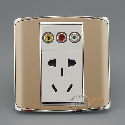 wall plate RCA AV Multimedia Audio & Five Hole Power Socket Champagne Faceplate