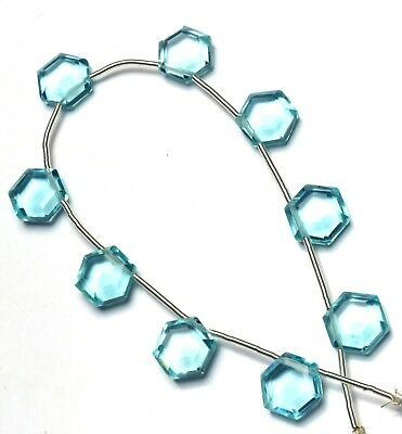 Sky Blue Topaz Gem Color Hydro Quartz Faceted 11MM Hexagon Shape Beads 9""