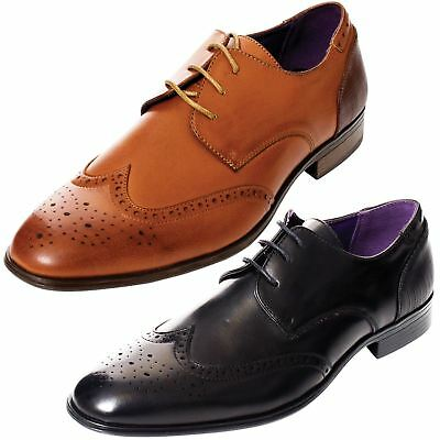 Mens Shoes Designer Faux Leather Smart Formal Office Lace Up Brogues Size UK6-11