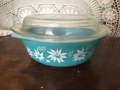 Rare Retro AGEE PYREX Turquoise FLANNEL FLOWERS Lidded Casserole Bowl .