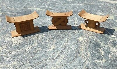 Good Set 3 West African Tribal Art Carved Wooden Miniature Ghana Ashanti Stools