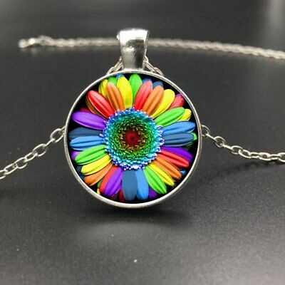 LGBT Pendant Necklace Rainbow Pride Lesbian Gay Flower Flag Bisexual Trans Glass