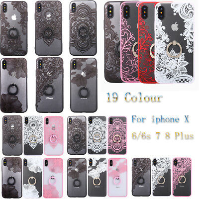 Emboss Flower Lace Protective Case With Ring Holder for iPhone X 6 6s 7 8 Plus