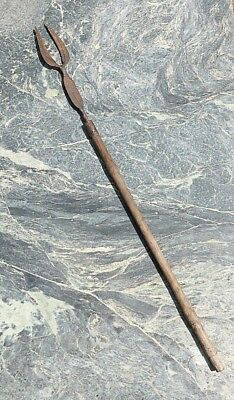 Large Unusual African Tribal Art Carved Wooden Spear With Double Prong Head Nr!