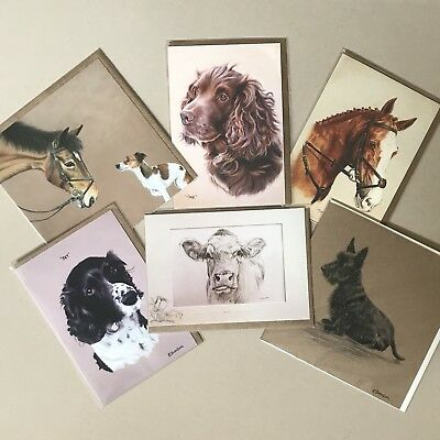 Mixed Animal Greetings Cards Blank Inside Horse Dog Spaniel Cow Job Lot Birthday