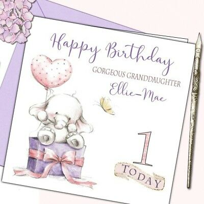 Personalised Birthday Card 1st First Girl Daughter Grand Baby Elephant With Poem