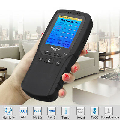 PM2.5 PM10 HCHO TVOC AQI Air Quality Detector Tester Monitor Formaldehyde LCD