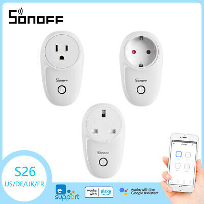 Sonoff S26 TFTTT WIFI Smart Power Socket Wireless Remote Timer US/EU/UK/AU Plug