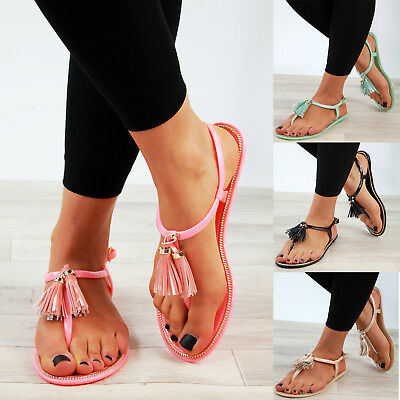 98a7263a249 New Womens Flat Sandals Tassel Jelly Toe Post Ankle Strap Holiday Shoes  Sizes