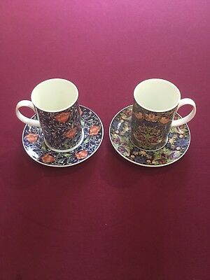 Dunoon  2 xfine bone china cups saucers Medway chintz design from William Morris