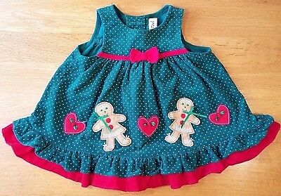 rare too baby girls size 6 9 months gingerbread man polka