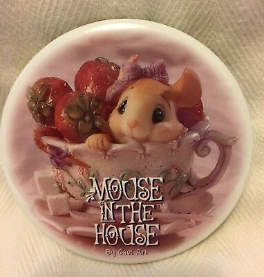 Adorable Vintage Mouse in the House Cast Art Strawberries & Cream Pin Pinback