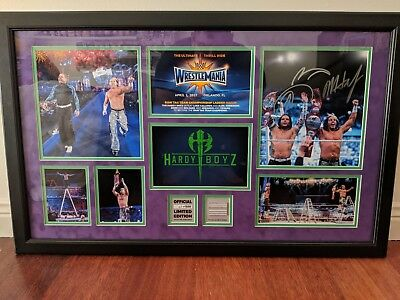 WWE WrestleMania 33 Hardy Boyz Signed Commemorative Plaque