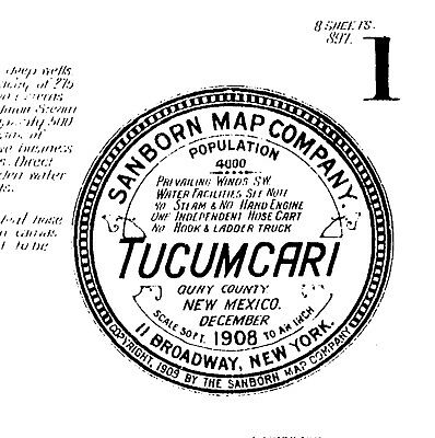 Tucumcari, New Mexico~Sanborn Map© sheets~1908, 1919 with 21 maps on a CD