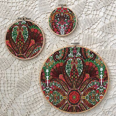 VINTAGE FABRIC WALL Art Hanging Decor 3pc Set 60s Embroidery Hoop ...