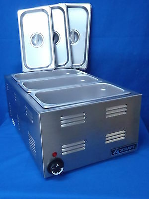 Steam Table Warmer with (3) 1/3 sized pans with covers
