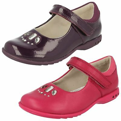 Girls Clarks Mary Jane Hook & Loop Leather/Patent Shoes with Lights Trixi Spice