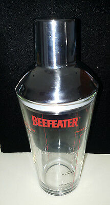 """BEEFEATER LONDON 8-1/2"""" Cocktail Martini Glass Shaker with Chrome Lid and Cap"""