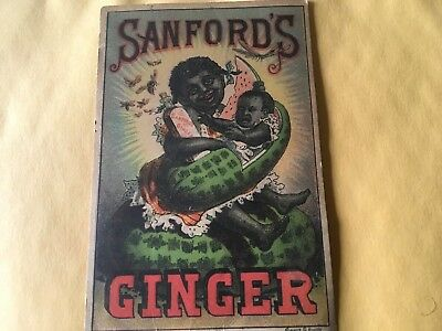 Sanford's Ginger Black America Medicine Tradecard Mother With Baby In Watermelon