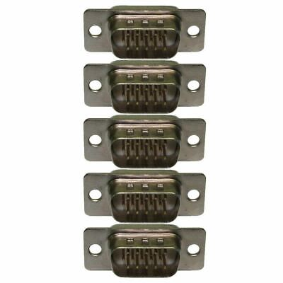 SVGA VGA 15 Pin HD15 D Sub Male Solder Type Connector Chassis Adaptor 5 PACK