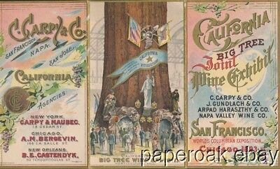 California Wine Exhibit 1893 Columbian Exposition Tri-Fold Trade Card Folder