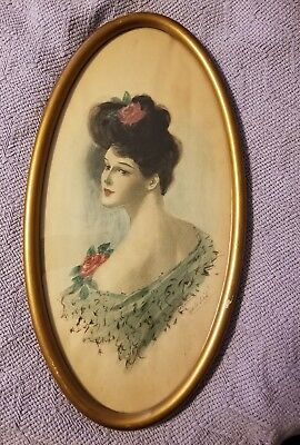Antique Art Nouveau Gibson Girl type original sketch -Hand colored by G A Flick