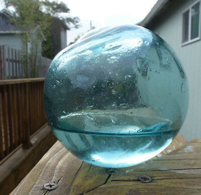 "Vintage Japanese Glass Fishing Float with water, 4.13"" Diameter"