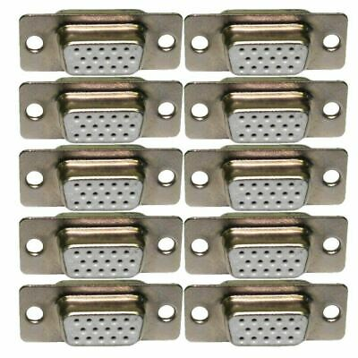 SVGA VGA 15 Pin HD15 D Sub Female Solder Type Connector Chassis Adaptor 10 PACK