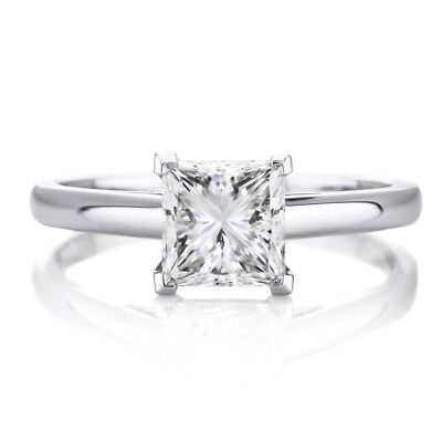 2 Ct Princess Cut Solitaire Diamond Engagement Promise Ring Solid 14K White Gold