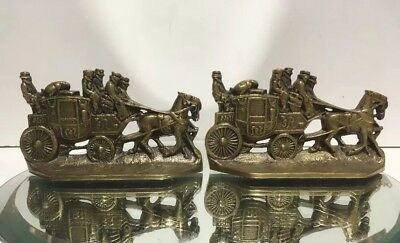 GREAT Antique Pair Brass Bronze #15 Stagecoach Bookends