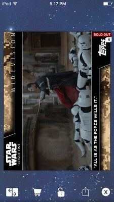 Topps Star Wars Digital Card Trader All Is As The Force Widevision Insert Award
