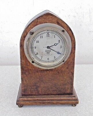 Vintage Smiths Classic Car Clock Dashboard Mounted In Oak Gothic Case Working