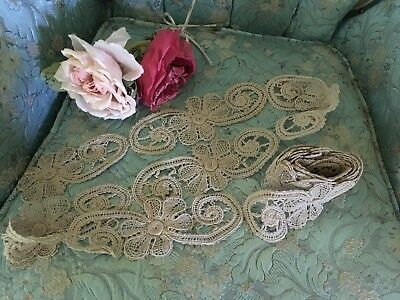 Antique Lace French Trim Large flowers Ecru In Color Cotton Unused
