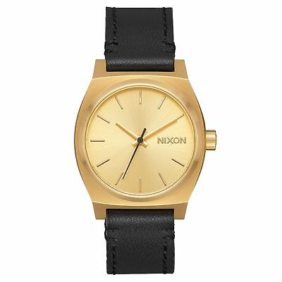 Nixon Medium Time Teller Leather Femme Montre - Gold Black Une Taille