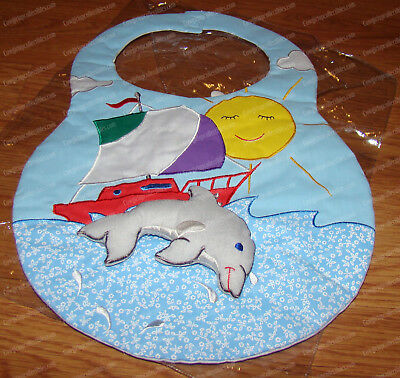Handcrafted Dolphin & Sailboat Bib (by Kubla Kids, 8807)