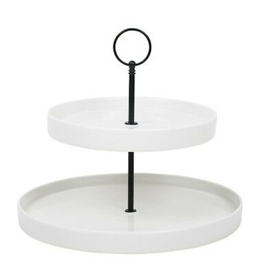 Cake Stand Serving Platter Two Tier Ceramic Cupcake 28cm