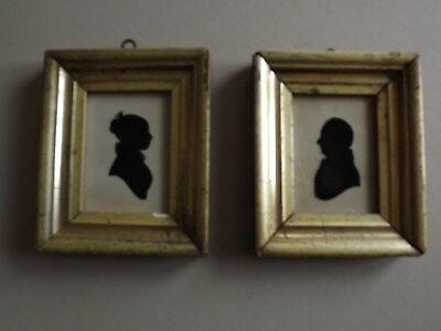 ANTIQUE - PAIR OF REGENCY SILHOUETTES WITH ORIGINAL GILT FRAMES   c1820