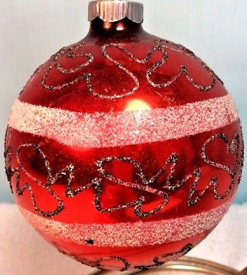 """Vintage Red Christmas Tree Ornament W Germany 3.25"""" Red W/black & White Mica"""